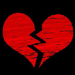 Ein gebrochenes Herz durch den Liebeskummer.